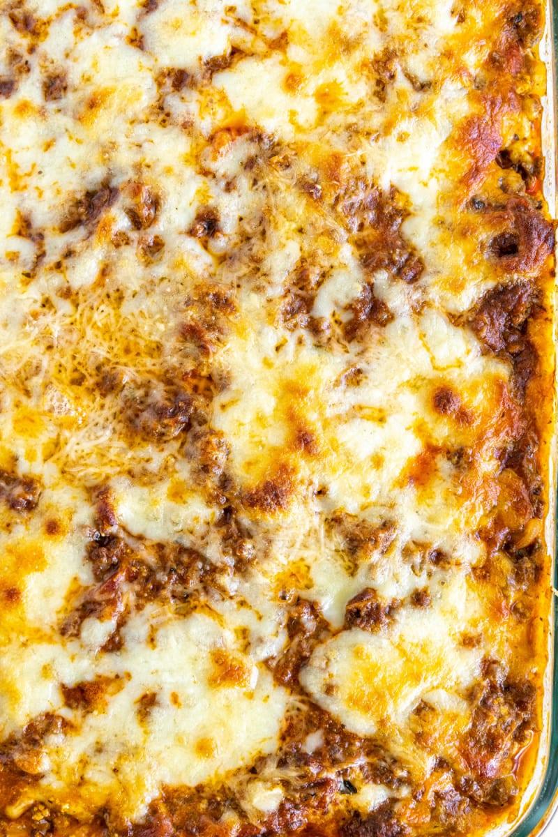 close up of pan of lasagna