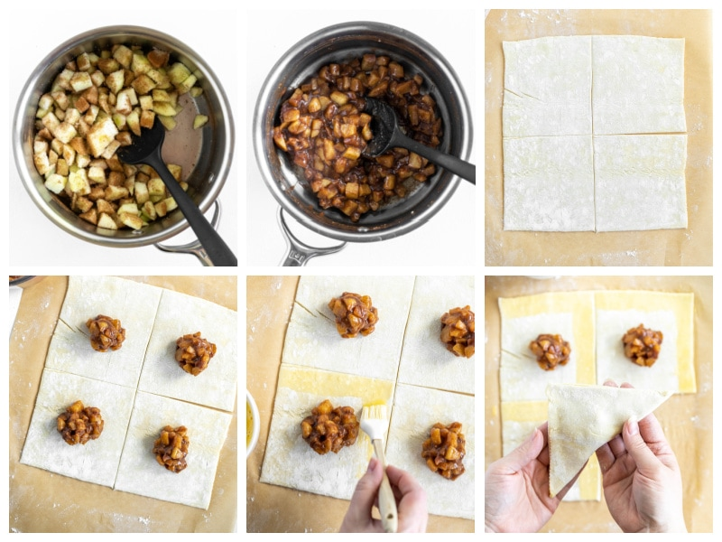 six photos showing process of making cooked apples and then filling pastry for apple turnovers
