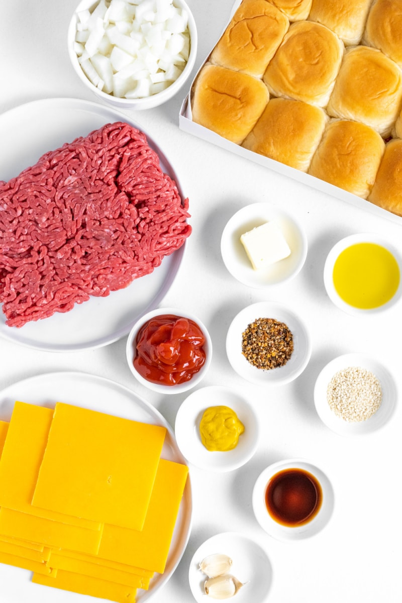 ingredients displayed for making baked cheeseburger sliders