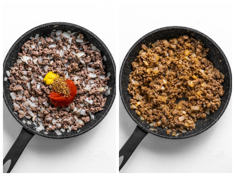 two photos showing skillet with meat and spices and then mixed