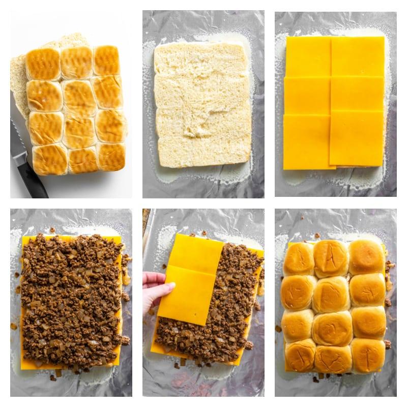 six photos showing process of assembling cheeseburger sliders
