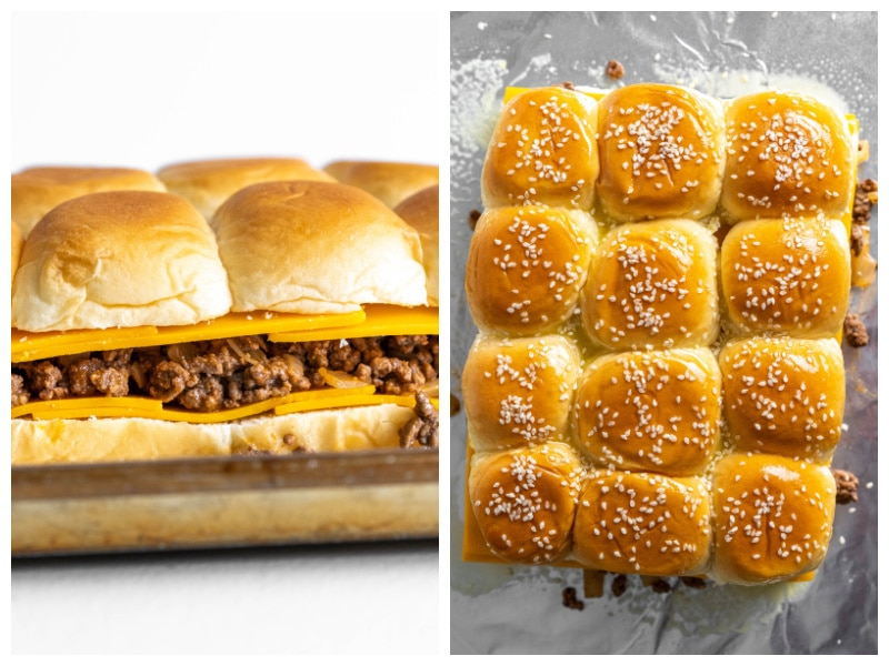 two photos showing cheeseburger sliders layers and then topping
