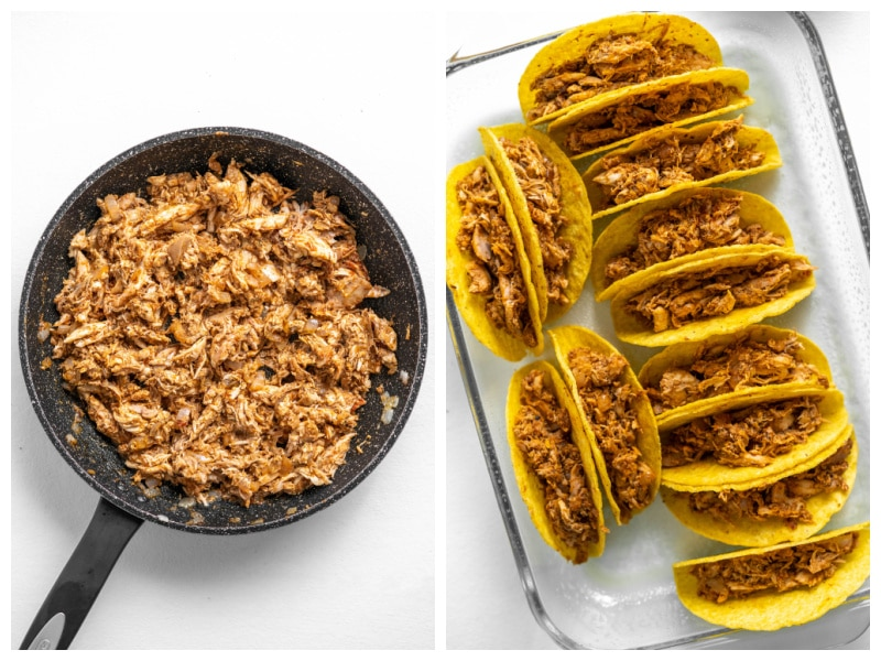 two photos showing chicken taco meat in skillet and then filled taco shells in dish
