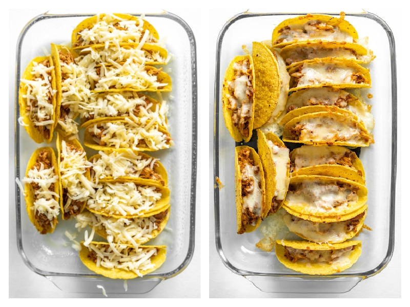two photos showing tacos with cheese and tacos with melted cheese