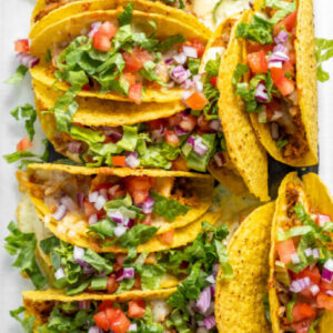 pinterest image for baked chicken tacos