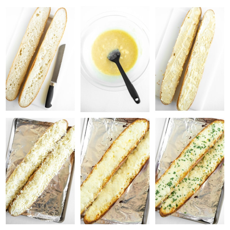 six photos showing process of making cheesy garlic bread