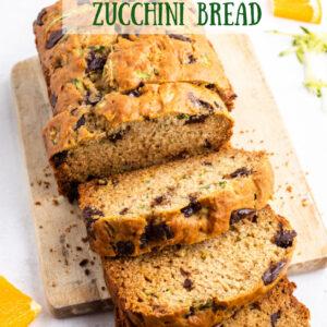 pinterest image for chocolate chunk zucchini bread