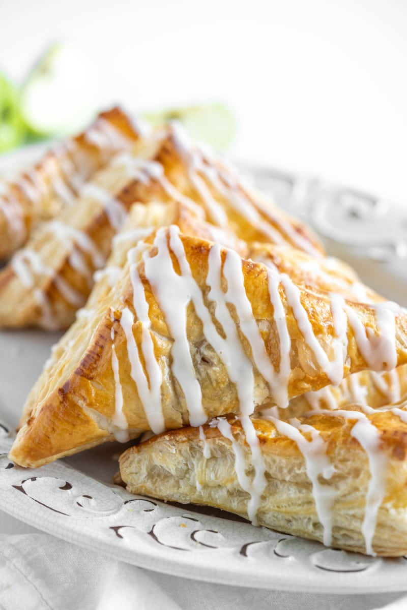 easy apple turnovers on a white plate