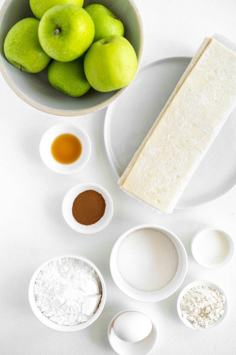 ingredients displayed for making easy apple turnovers
