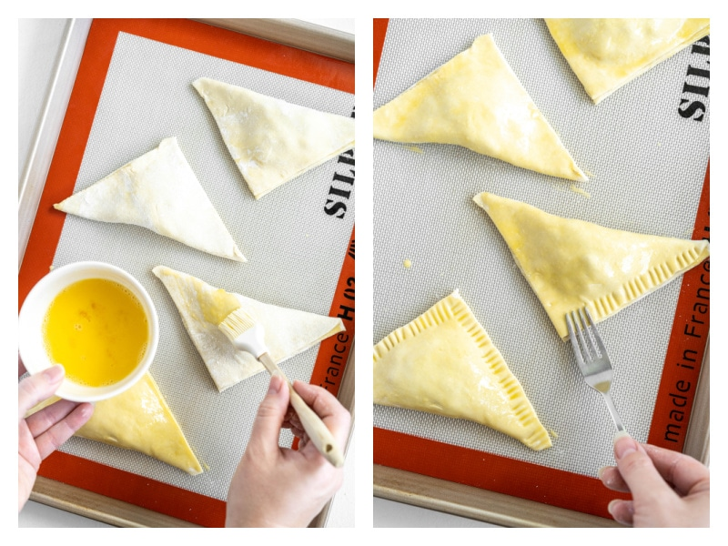 two photos showing adding egg wash to turnovers and then pressing edges with fork