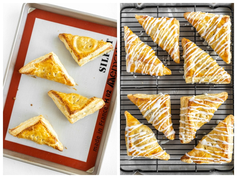 two photos showing baked apple turnovers and then iced apple turnovers