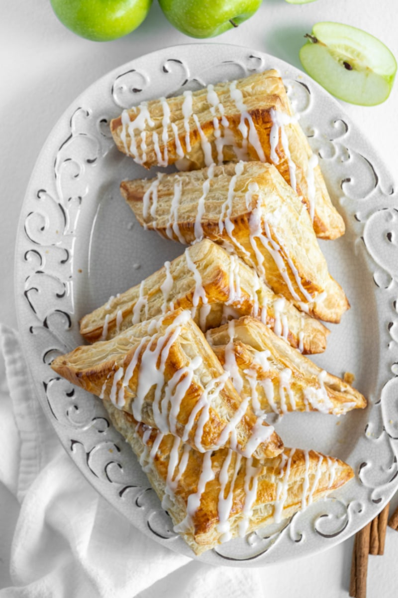apple turnovers on a white plate