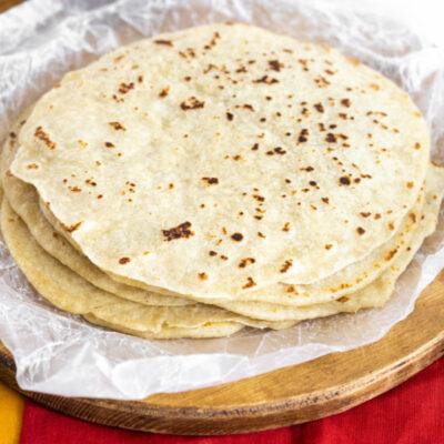 stack of homemade flour tortillas