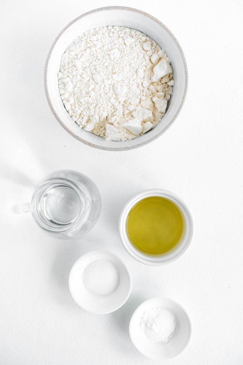 ingredients displayed for making flour tortillas