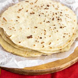 pinterest image for homemade flour tortillas