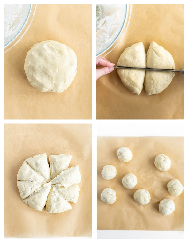four photos showing cutting and rolling dough into balls to make tortillas