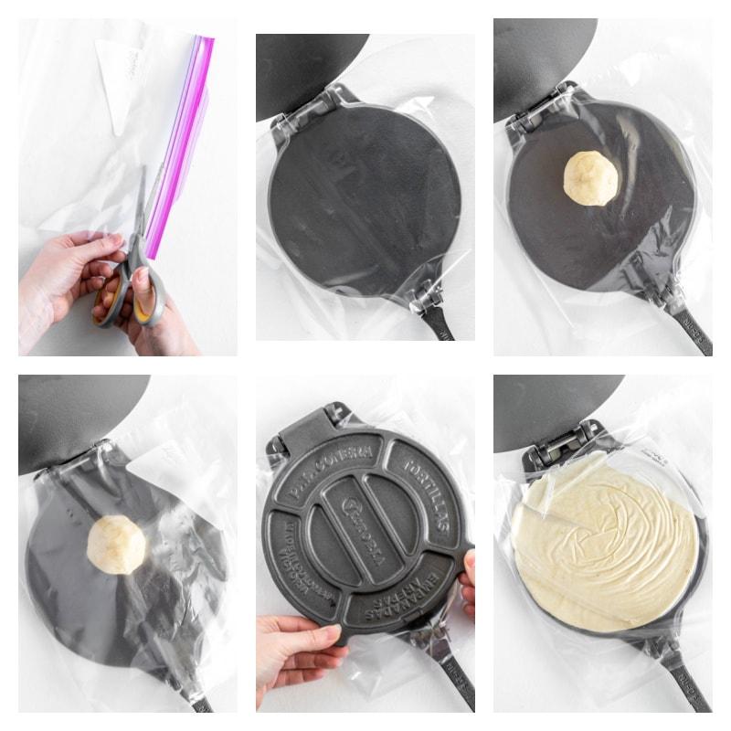 six photos showing process of pressing dough into a flat pancake to make a flour tortilla