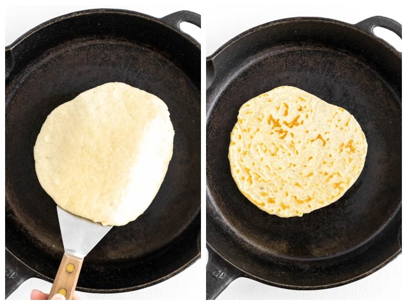 frying a flour tortilla in a black iron skillet