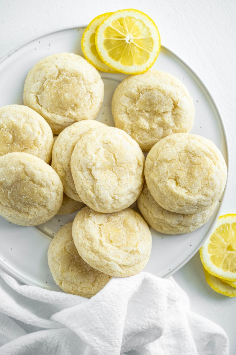 lemon sugar cookies on a white plate