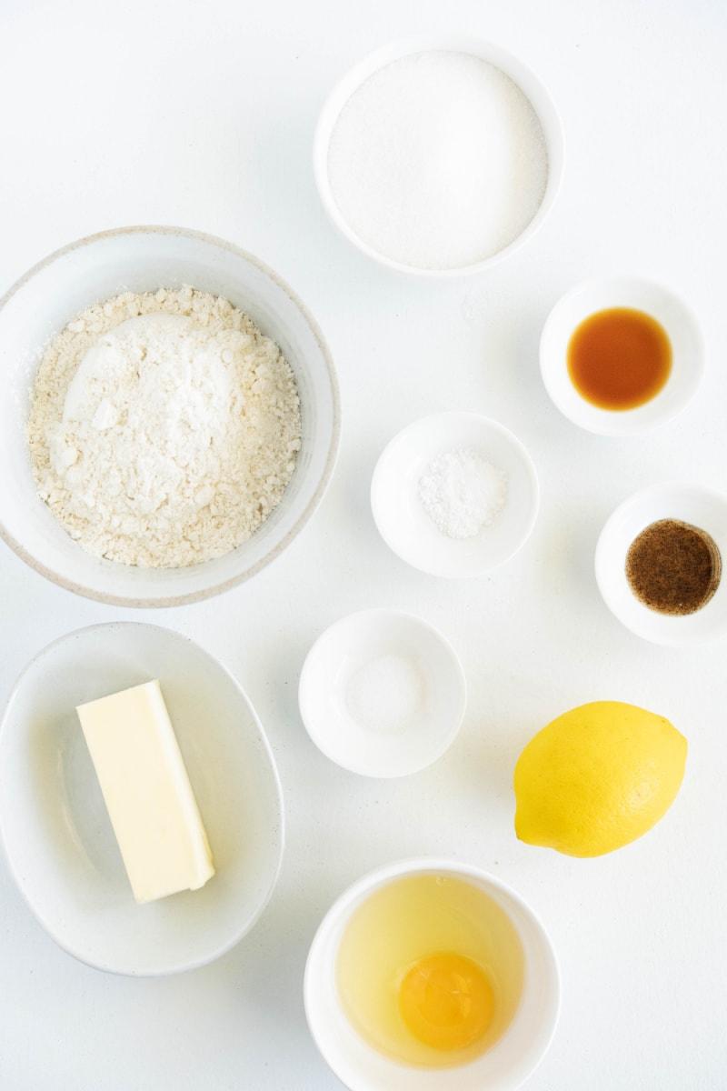 ingredients displayed for making lemon sugar cookies