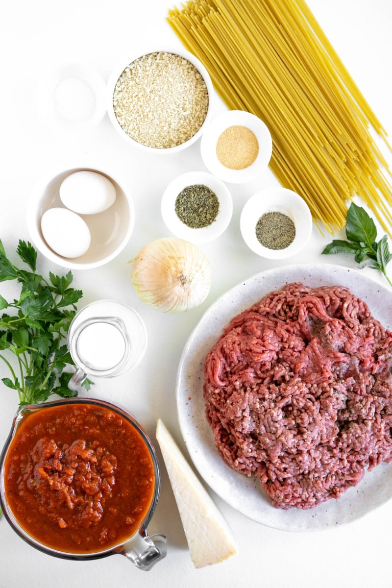 ingredients displayed for making spaghetti and meatballs