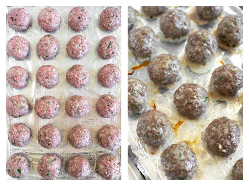 meatballs on baking sheet and then baked