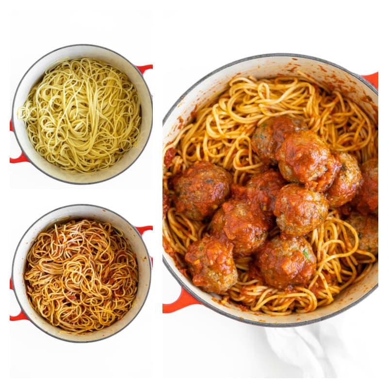 pot of spaghetti and meatballs