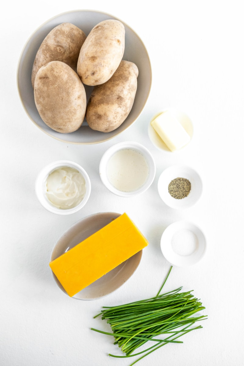 ingredients displayed for making twice baked potatoes