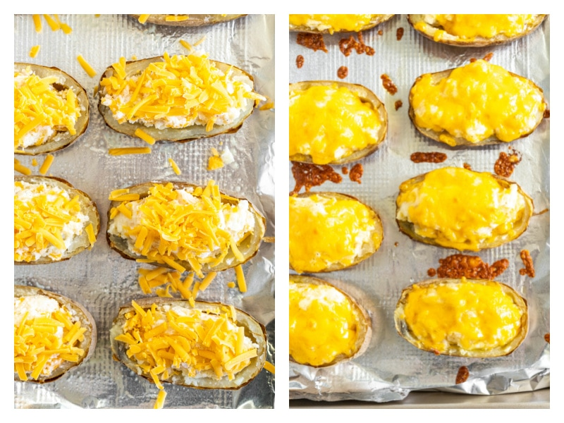 two photos showing potatoes with cheese on baking sheet and then melted on next photo