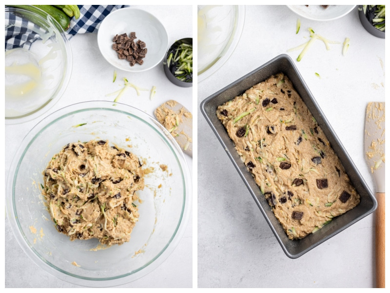 two photos showing batter in bowl and then in pan for zucchini bread