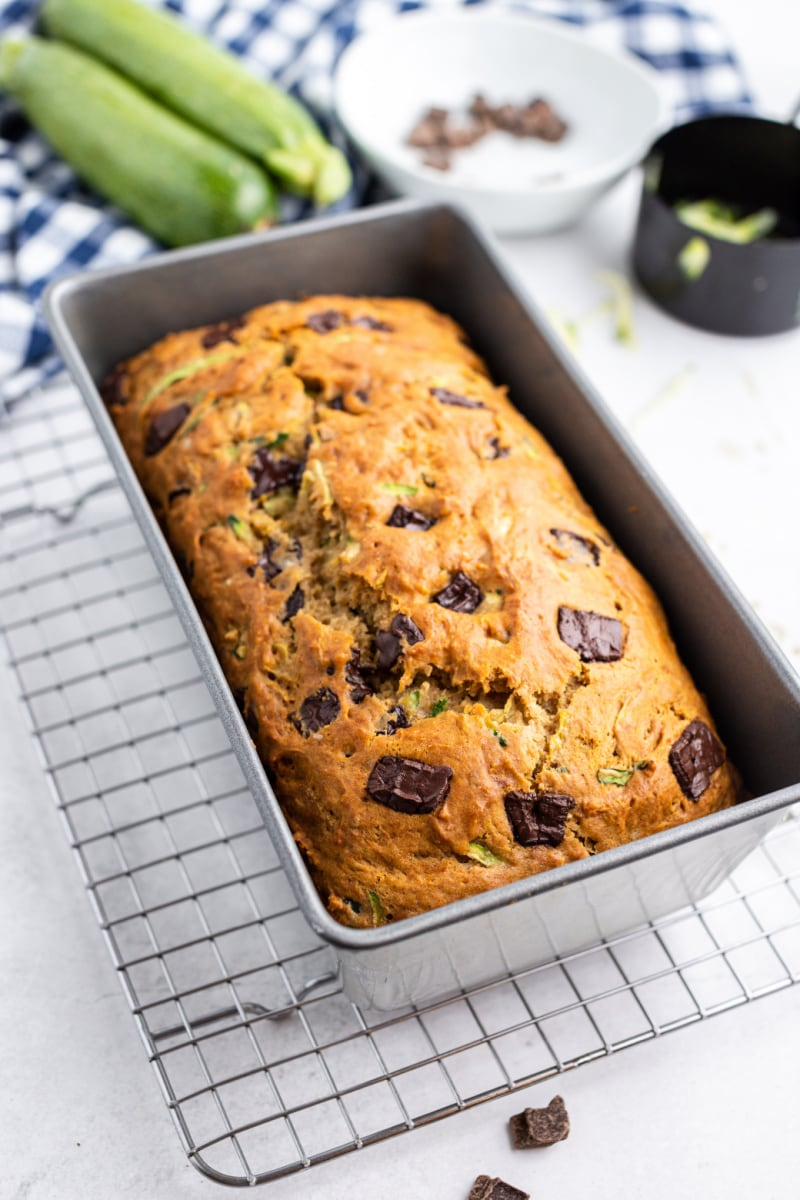 chocolate chunk zucchini bread in loaf pan